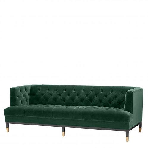 SOFA CASTELLE - Roche dark green velvet | black & brass legs