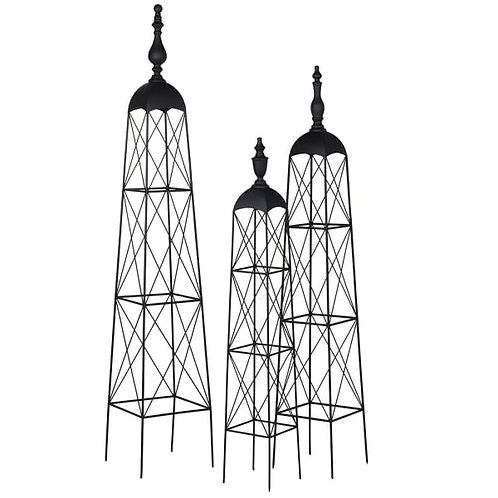 Set of Three Black Garden Obelisks