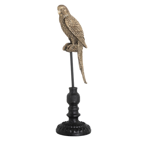 PARROT ON STAND IN GOLD