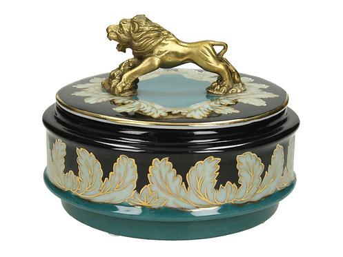 Fine Earthenware Black Box with Lion