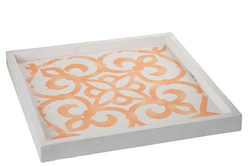 Tray Square Cement White/Orange