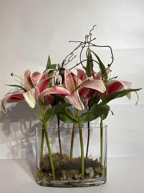 Pink Lillies in Oval Vase
