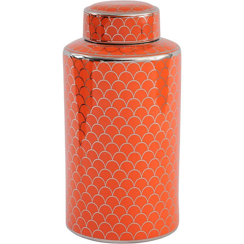 Orange Ceramic Lidded Jar With Silver Detail