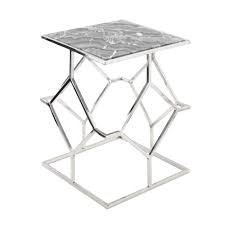 Stainless steel side table with grey marble top