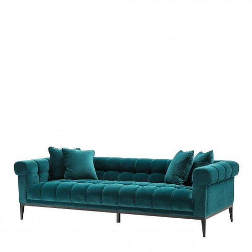 SOFA AURELIO - Savona sea green velvet | gunmetal base