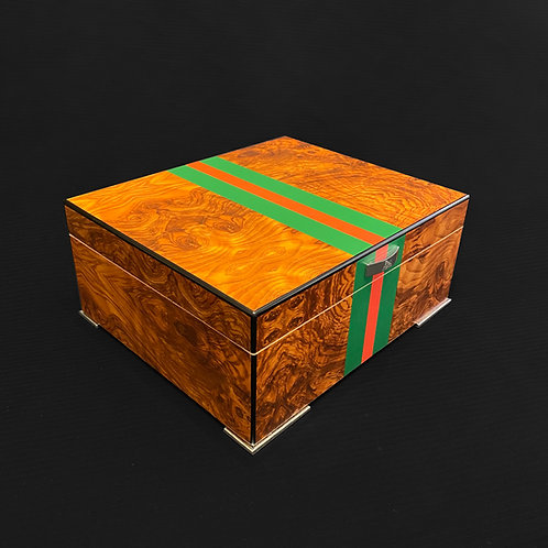 Humidor in elm burl with red and stripes