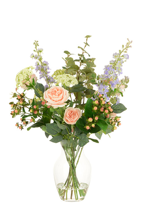 Rose & Larkspur in Bouquet Vase