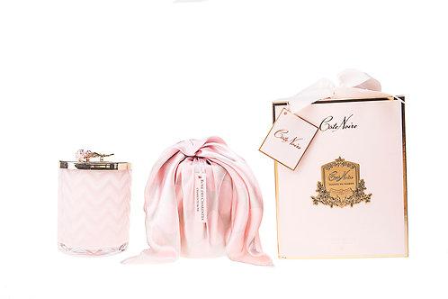 COTE NOIRE - HERRINGBONE PINK CANDLE & SCARF - PINK ROSE