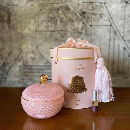 COTE NOIRE - ROUND PINK ART DECO CANDLE - PINK BOX