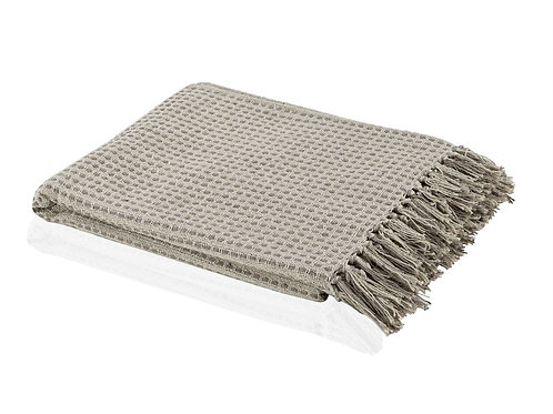 IVORY/BROWN COTTON THROW 125X150 CM