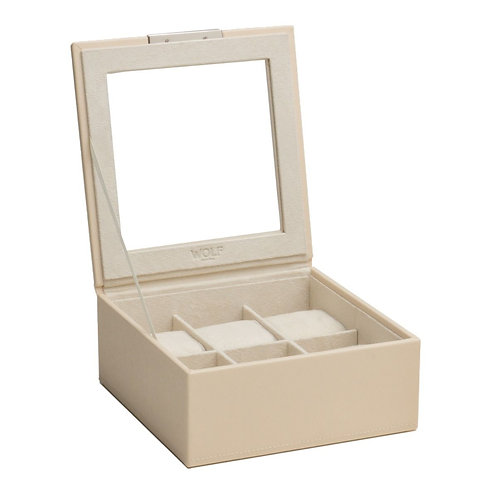STACKABLE 6 PIECE WATCH TRAY WITH LID - CREAM