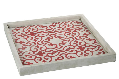 Tray Square Cement Red