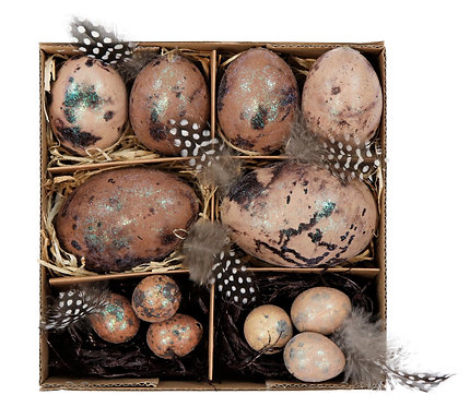 """EGGS IN BOX""""NATURAL BROWN"""" S/12"""