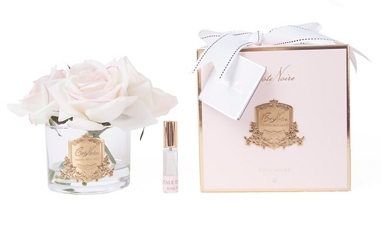 COTE NOIRE PERFUMED NATURAL TOUCH 5 ROSES - CLEAR - PINK BLUSH - PINK BOX