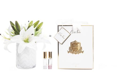 COTE NOIRE - HERRINGBONE FLOWER - WHITE LILIES - CLEAR