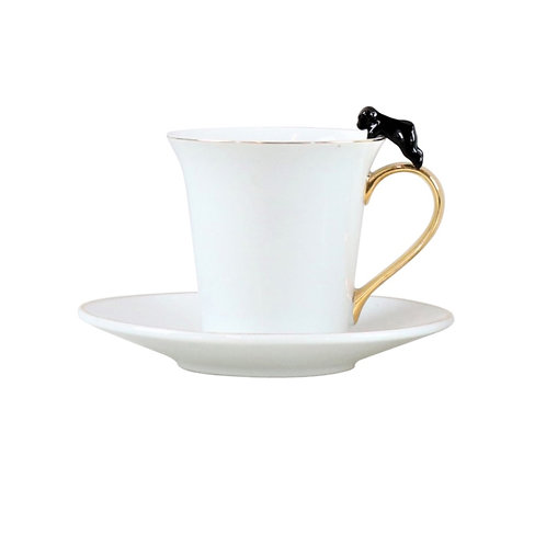 Cup and Saucer with Cat Detail Black