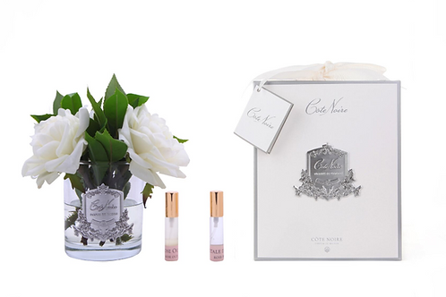 COTE NOIRE PERFUMED IVORY ENGLISH ROSE - CLEAR GLASS