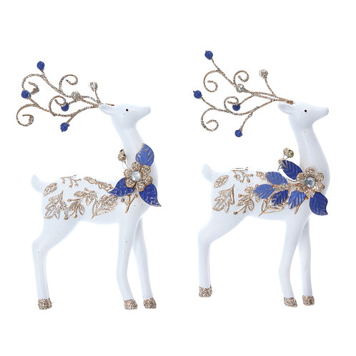 White/Gold/Blue Resin Reindeer (set of 2)