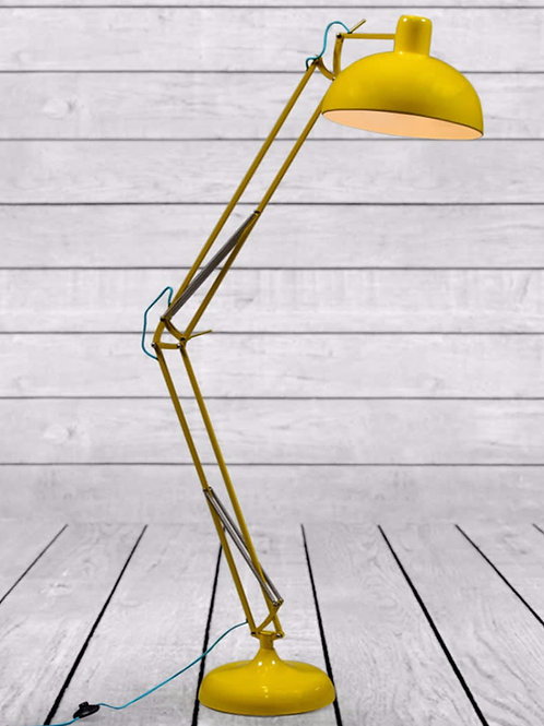 YELLOW EXTRA LARGE CLASSIC DESK STYLE FLOOR LAMP (BLUE FABRIC FLEX)