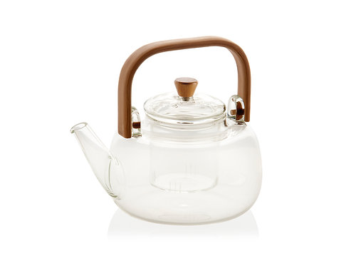 GLASS TEA POT WITH BAMBOO HANDLE 1L
