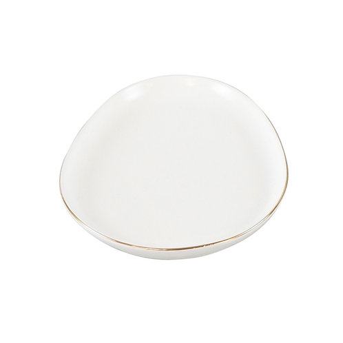 White Egg Tray with Gold Rim
