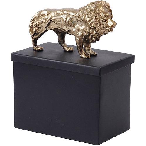 Black And Gold Metal Lion Tin