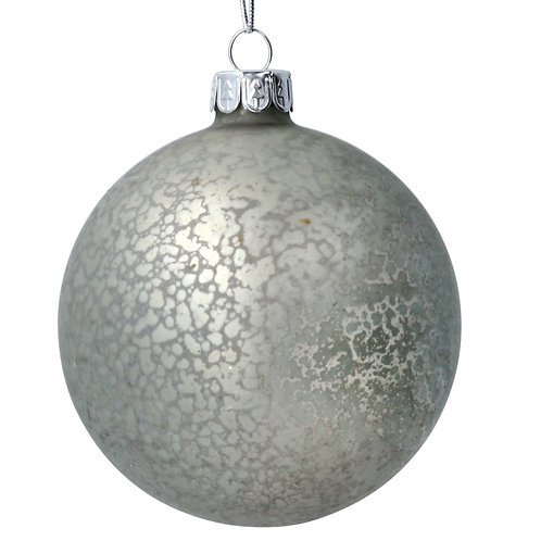 Glass Bauble (8cm) - Silver Antiqued Matt