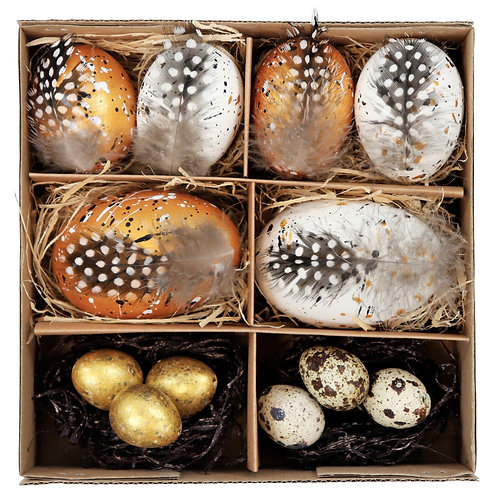 """EGGS IN BOX""""NATURAL GOLD"""" S/12"""