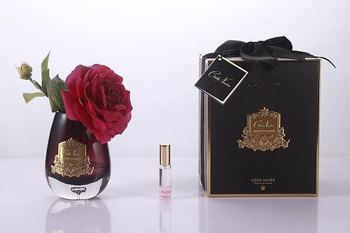 COTE NOIRE -TEAR DROP TEA ROSE BLACK GLASS - CARMINE RED