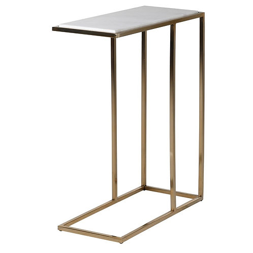 Stainless Steel and Marble Side Table