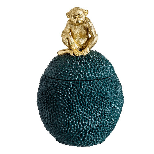 GREEN POLYRESIN BOX WITH GOLD MONKEY