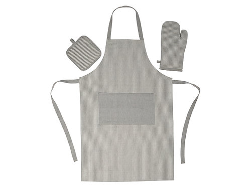GREY COTTON APRON KITCHEN KIT