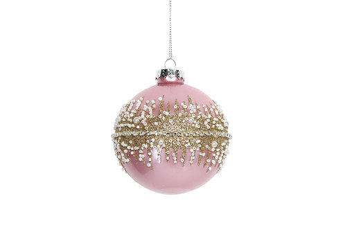 Pink andGold Glass Bauble 8cm