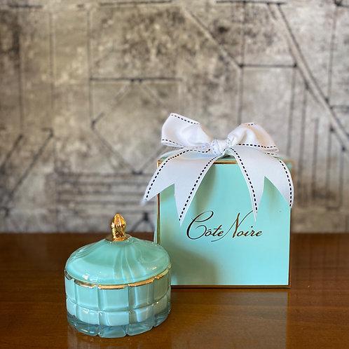 COTE NOIRE - SMALL BLUE ART DECO CANDLE - BLUE BOX
