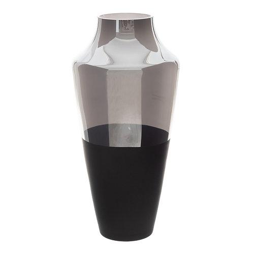 VASE IN BLACK-GREY GLASS