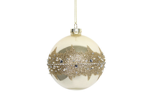 Gold Glass Ball with Glitter Band