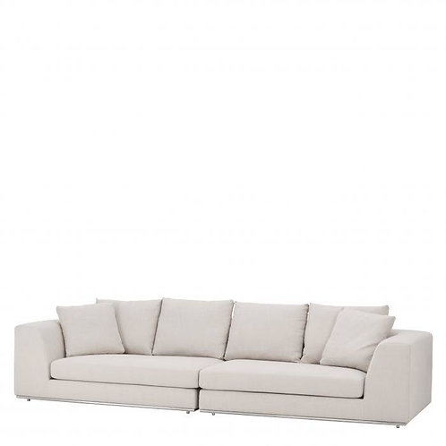 SOFA MARLON BRANDO - Panama natural | polished stainless steel base