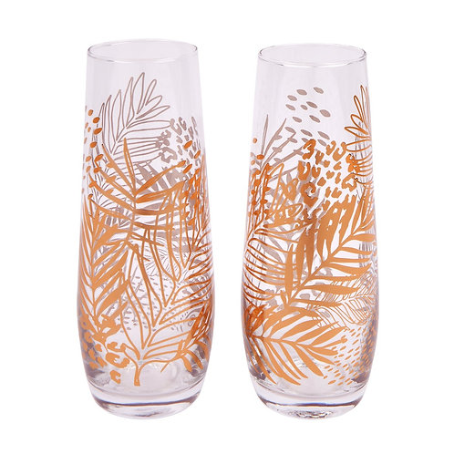 SUNNYLIFE - STEMLESS CHAMPAGNE GLASSES | ELECTRIC BLOOM