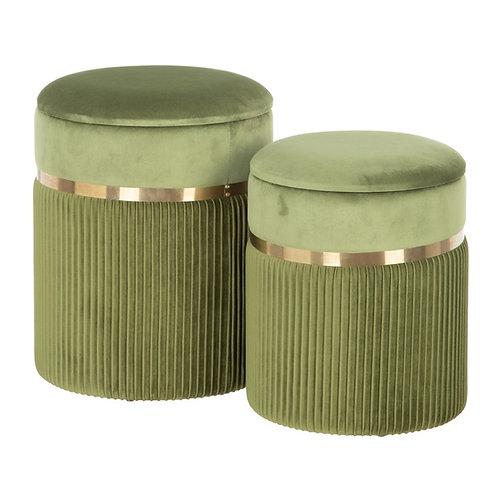 SET OF 2 GREEN VELVET PUFFS