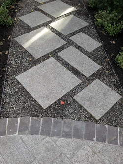 stone steppers with crushed basalt