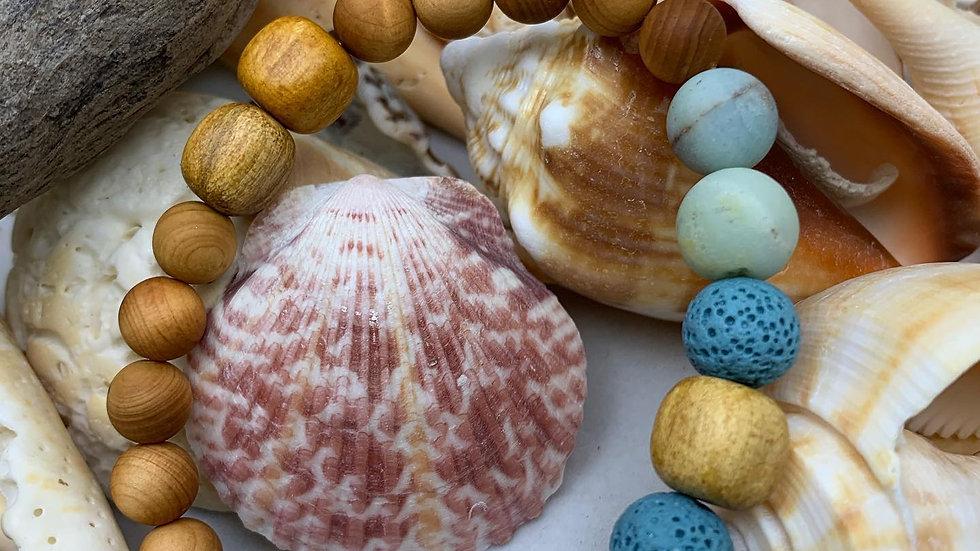 Palo Santo, Rosewood, Lava Bead and Amazonite Bracelet