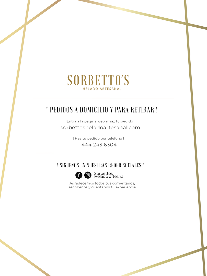 MENU SORBETTO´S