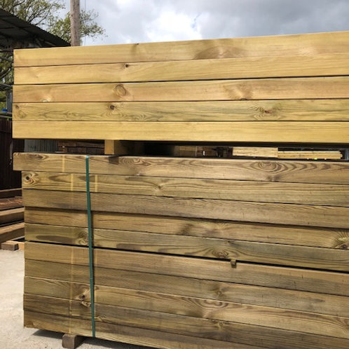 100mm x 200mm x 2.4m Planed all round pressure treated green softwood sleepers.