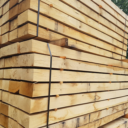 95mm x 195mm x 2.4m French oak hardwood landscaping sleeper.