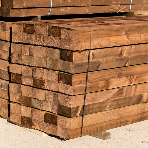 100mm x 200mm Pressure treated brown softwood sleeper. Priced from: