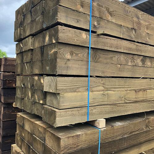 125mm x 250mm x 2.4m Pressure treated green softwood sleeper.