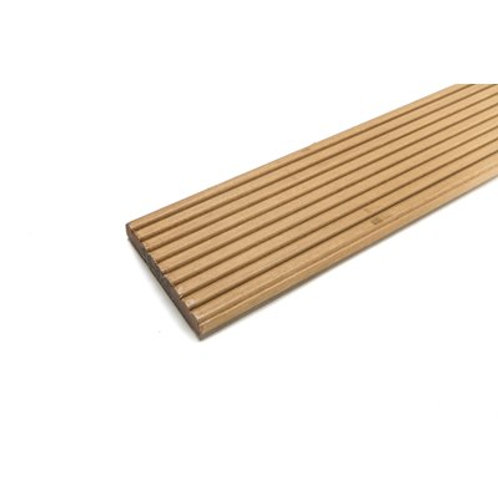 21mm x 145mm x 3.97m Grooved finish hardwood decking. Price per length