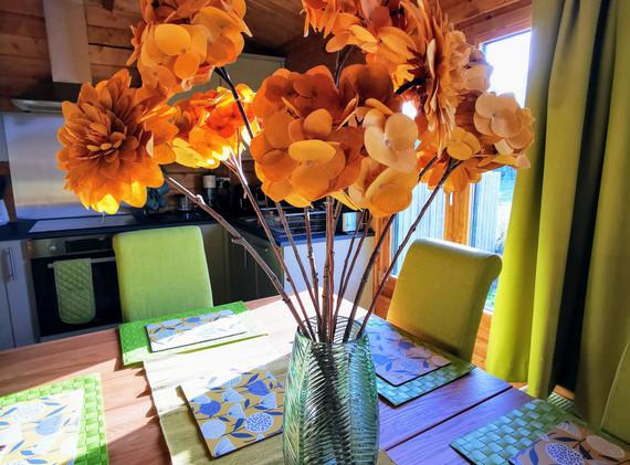 ochre flowers on ochre mat