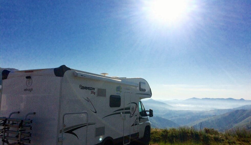 Motorhome with mountain view