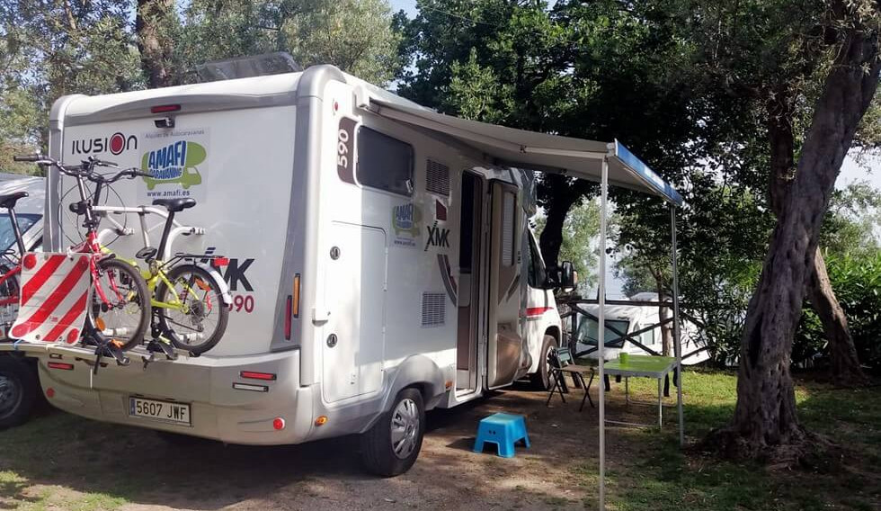 motorhome with awning on a campsite